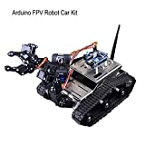 MakerFocus Arduino FPV Robot Car Kit Wifi Utility Intelligent Vehicle Robotics HD Camera Wireless Android IOS PC Controls with Mechanical Arm