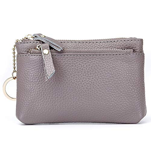 Mini Toughskin - XGCCD Women's Mini Coin Purse Ladies Leather Zipper New Multi-Function Lychee Pattern Small Wallet Key Coin Bag (Color : Gray)