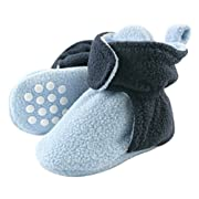 Luvable Friends Baby Cozy Fleece Booties with Non Skid Bottom, Light Blue/Navy, 12-18 Months