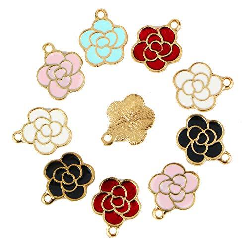 Monrocco 30Pcs Enamel Flower Charm Cute Enamel Rose Flowers Charm Bracelet Charms Pendants for Jewelry ()