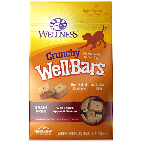 - Wellness Natural Grain Free Wellbars Crunchy Dog Treats, Yogurt, Apples & Bananas Recipe, 45-Ounce Bag