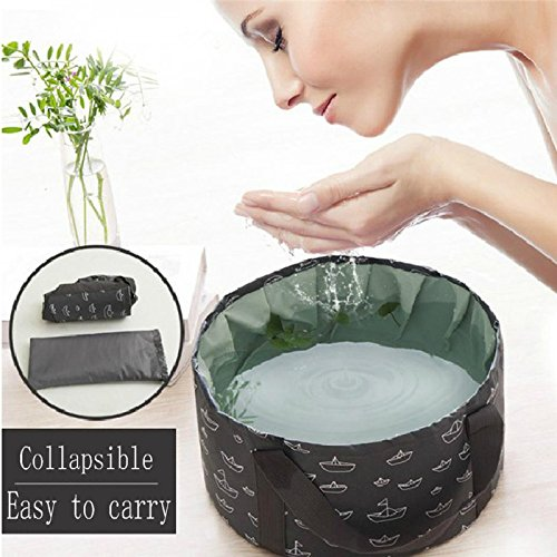 10L Portable Collapsible Bucket Basin Outdoor Camping Leak-Proof Durable Water Laver Foldable Cloth Basins with Handle