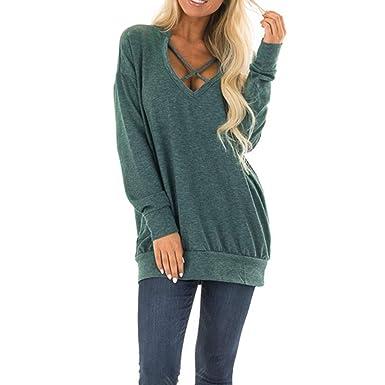 5b36962f779 Amazon.com  Women Fashion Sweatshirts Pullover Casual Loose Criss Cross V-Neck  Lightweight Long Sleeve Jumper Tops Blouse Shirt  Clothing