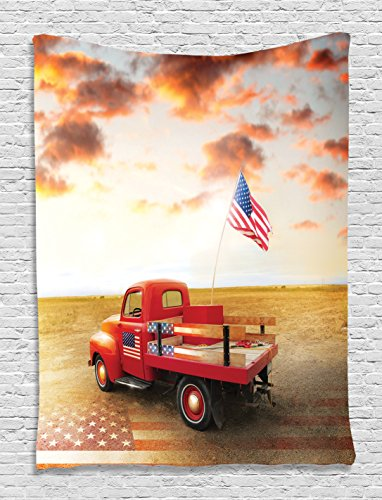 Red Truck American Flag Tapestry, Husband Gifts Vintage Funny Cars American USA Flag 1950s Retro Wall Hanging Decor Art Pictures Bedroom Living Room for Man Cave Accessories, Red Brown Mustard - Vintage Pictures Men
