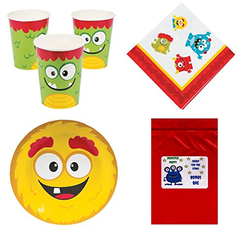 Multiple Silly Monsters Theme Halloween Baby Shower Kid's Birthday Party Supplies Tableware Pack Set for 16 (Cups, Dessert Plates, Napkins & 1 Secret Bonus Bag) -