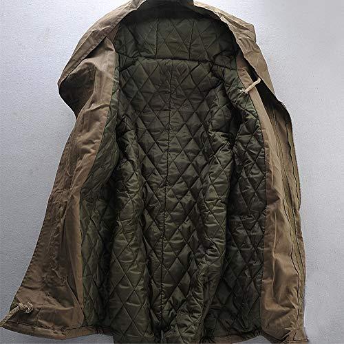 Invernale Casual Con Piumino Manica Sottile Collo Giacca Zip Lunga Moda Cachi Caldo Trench Cappotto Da Uomo nqqxHO