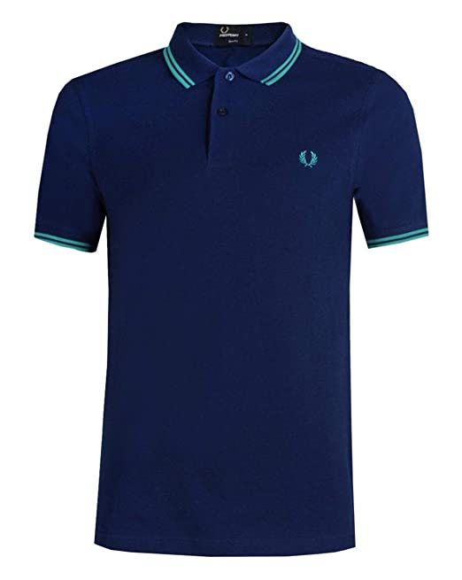 Fred Perry Hombres Doble Punta m3600 Polo Camisa Gris Claro S ...