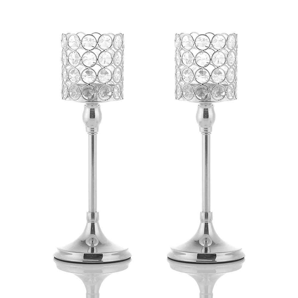 VINCIGANT 2PCS 12 Inches Tall Silver Crystal Cylinder Candle Holders Set of 2 for Anniversary Celebration Mother's Day Table Centerpieces