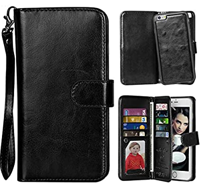Vofolen 2 in 1 iPhone 6S Case Wallet Folio Flip PU Leather Case Protective Shell Magnetic Detachable Slim Back Cover Card Holder Slot Wrist Strap for iPhone 6 6S 4.7 inch by Vofolen