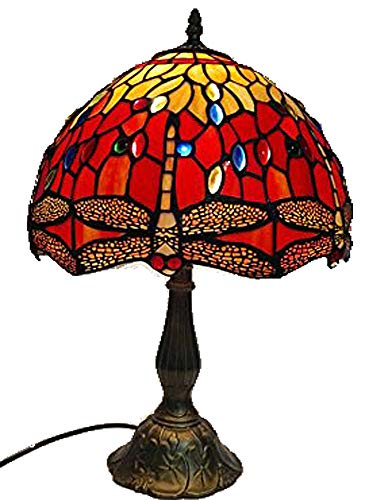 Tiffany Lamp & Gift Factory AD-17038-Red Tiffany Style Dragonfly Table Stained Glass Butterfly Lamp 13 Inch Tiffany-Style Art Glass Desk Lamp Table -