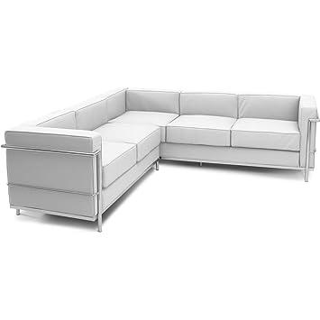 Canapé Dangle LC Style Le Corbusier Places Simili Cuir Blanc - Canape cuir le corbusier