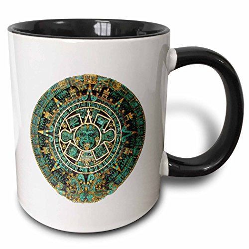 3D Rose 255501_4 Image of Turquoise and Gold Aztec Calendar Two Tone Ceramic Mug, Black