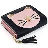 UTO Women PU Leather Cute Cat Wallet Card Holder Tassel Zipper Coin Pocket Girls Purse Black