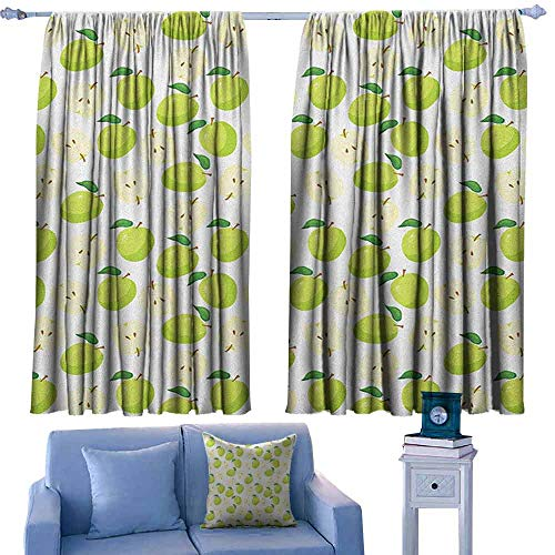 (ParadiseDecor Apple Nursery/Baby Care Curtains Cartoon Style Green Fruits Stalks Core and Seeds Anatomy of an Apple,Indo Treatment Panes,W42 x L54 Inch)