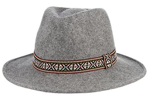 Mobster Wives Costumes (Gemvie Women's Wool Felt Trible Print Band Warm Fedora Trilby Porkpie Hat Gray)