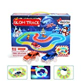 LED Laser Tracks Twister 221 Pcs Tracks, Rolytoy Glow Race Track Toy Car Set Magic Glow in the Dark Cars Light Up Flexible Track + 2 Light Up Race Car Each Individual Track Piece Contains Lights for Kids