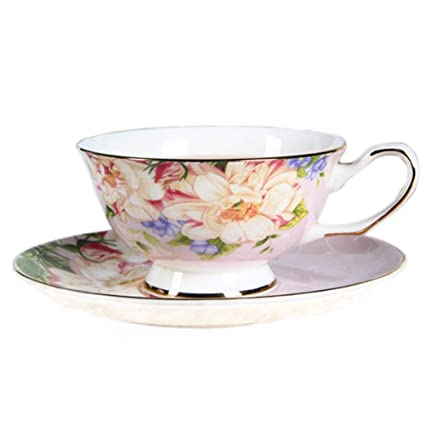 0ec0571b410 Amazon.com   ufengke European Bone China Coffee Cups, Ceramic Afternoon Tea  Cup With Saucer, Beautiful Rose Flower Printing, Gift Cups For Girls, ...