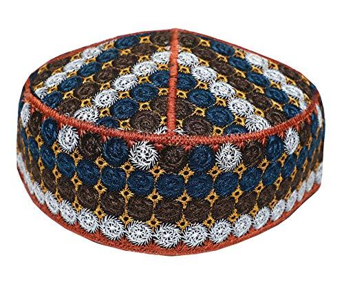 NDA Special Afgani Cap Hand Embroidered Islamic Muslim Knitting Kufi Topi Prayer Hat Skull Cap (Multicolor 4)