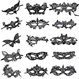 Venetian Style Black Lace Masquerade Party Masks, Set of 15