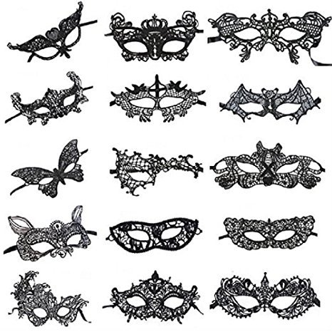 Venetian Style Black Lace Masquerade Party Masks, Set of 15 by VANVENE