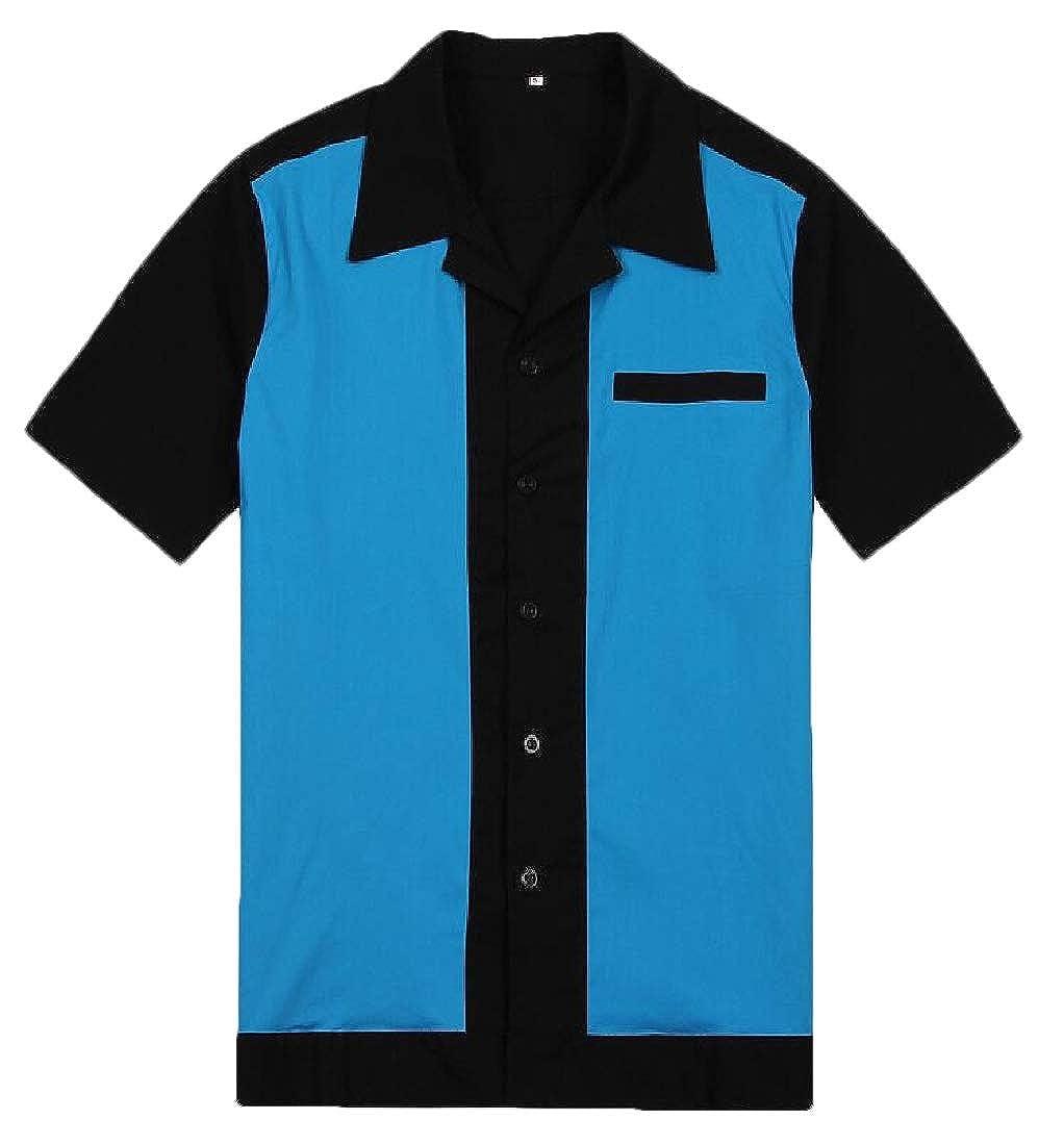HTOOHTOOH Mens Blouse Casual Button Down Top Color Block Short Sleeve Shirt Top