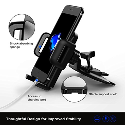 Mpow Car Phone Mount,CD Slot Car Phone Holder Universal Car Cradle Mount with Three-Side Grips and One-Touch Design for iPhone X/8/8Plus/7/7Plus/6s/6P/5S, Galaxy S5/S6/S7/S8, Google, LG, Huawei etc by Mpow (Image #2)