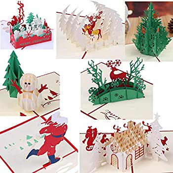 Amazon.com : 3D Christmas Cards Pop Up Greeting Holiday Cards Gifts ...