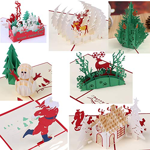 3D Greeting Christmas Cards Papercraft 7 Pack Holiday Birthday Pop Up Cards Gift (Cards Christmas Handmade Elegant)
