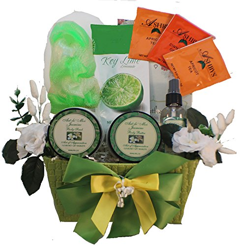 Tranquil Delights Spa Bath and Body Gift Basket Set With Tea and Cookies (Jasmine)
