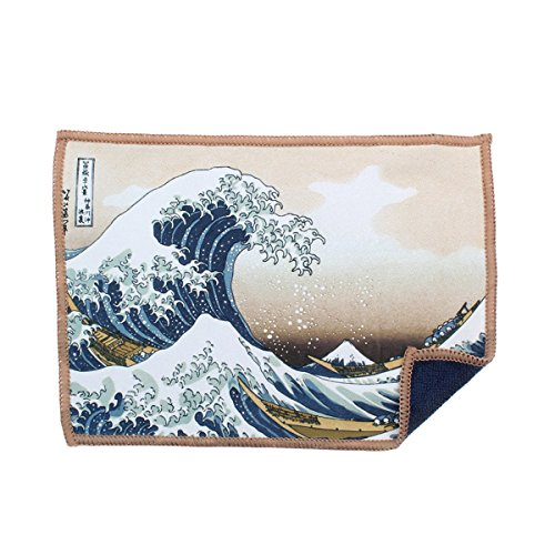 Cleaning Cloth for iPad and Touch Screens - Great Wave - Lens Graphic