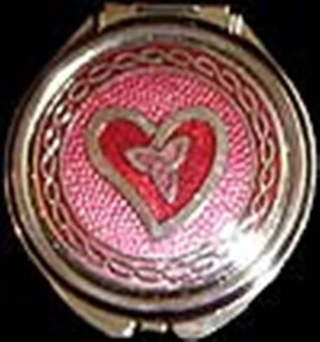 Compact Mirror in a Celtic Trinity Knot Heart Design. (Red)