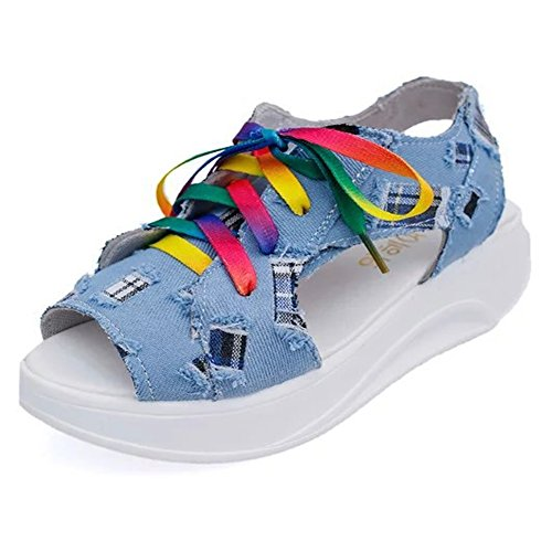 Cystyle Women's Colorful Lace Up Denim Comfort Peep Toe Walking Wedges Sandals Platform Heeled Shoes Light Blue