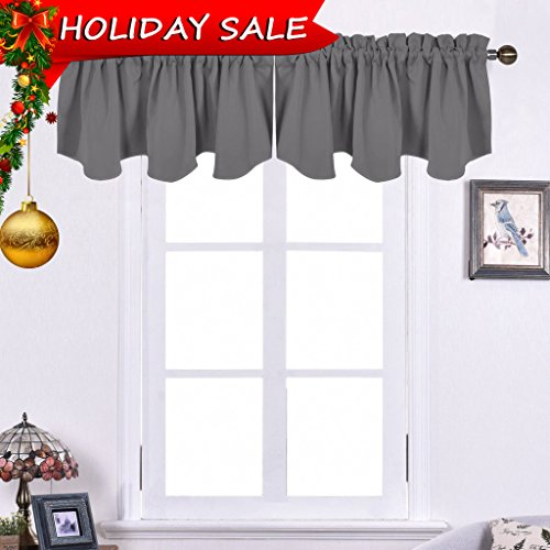 NICETOWN Window Scalloped Valance for Kitchen - 52-inch by 18-inch Rod Pocket Blackout Drapery Curtain, Grey, 1 Panel