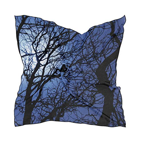 Women's Soft Polyester Silk Square Scarf Sly Dark Forest Spooky Branch Nature Halloween Gray Black Horror Atmosphere Fashion Print Head & Hair Scarf Neckerchief Accessory-23.6x23.6 Inch