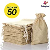 """FLAIRYLAND 5"""" x 8"""" Burlap Bags with Jute Drawstring for Holiday Party Birthday Wedding Gift Jewelry Treat DIY Craft Favor Bags Sack Pouch, Biodegradable Linen Absorbs Moisture Oil"""