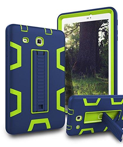 TIANLI Samsung Galaxy Tab E 8.0 Case Kickstand Three Layer Hybrid Shockproof High Impact Protective Case for Tablet Samsung Galaxy Tab E 8.0,Navy Blue Lemon Yellow