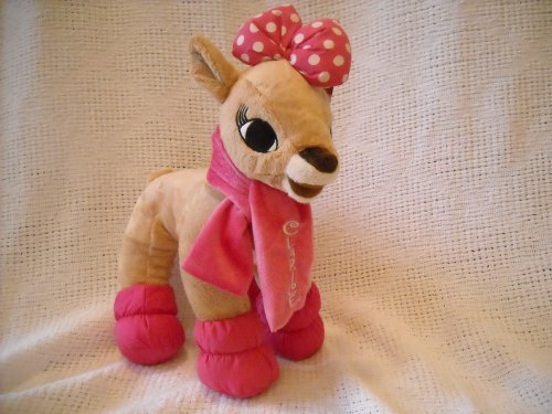 Rudolph the Red Nosed Reindeer Clarice with Pink Scarf and Boots 13 Inch Plush by Dan Dee