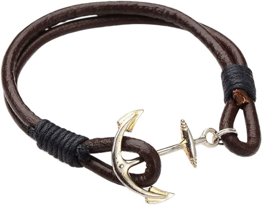 Silver Anchor and Helm for Women Men Girls Boys Jewelry PH PandaHall 12pcs Alloy Cord Bracelet Bangle Rope Cowhide Leather Cord with Cotton Wax Cord
