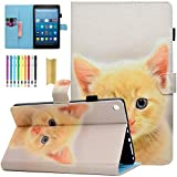 Amazon Fire HD 8 Tablet Case, Casii Ultra Slim Cute Premium Leather Flip Case Smart Magnetic Wallet Cover Folio Stand with Auto Sleep/Wake Feature for Kindle Fire HD 8 (2016/2017 Release), Cute Cat