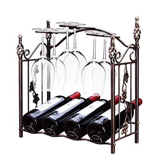 (4 Bottle Wine Rack Free Standing, Creative New Disassembly Red Wine Glass Holder, European Wrought Iron Wine Rack)