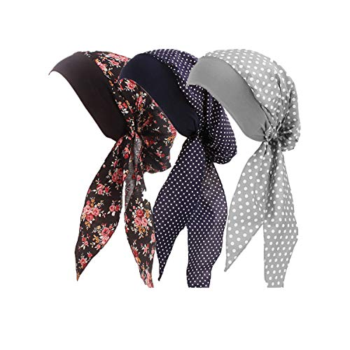 Fashion Tied Scarf (Ever Fairy Vintage Elastic Wide Band Cotton Multifunction Hair Loss Wrap Print Bonnet Chemo Women Head Scarf Turbans Night Sleep Hat Cap (3 Color Pack B))