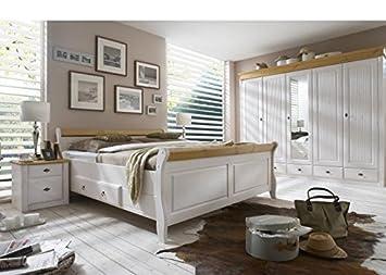 Schlafzimmer komplett Emma Kiefer massiv weiß Holz Weiß ...