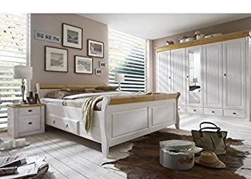 schlafzimmer komplett emma kiefer massiv weiss holz weiss massivholz