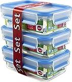 Emsa Clip & Close Frischhaltedosen, transparent/blau, 3er Pack (3 x 0,55L)