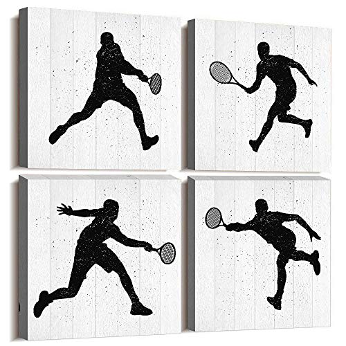 4 Panels Modern Giclee Prints Artwork Bedroom Wall Decor Office Canvas Wall Art for Living Room Sports Movement Plays Tennis Black and White Watercolor Painting Bathroom Home Decoration Pictures ()