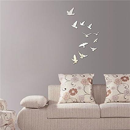 Silver 7Pcs Lovely Cat Birds Butterfly Patterns Mirror Effect Decals DIY 3D Acrylic Mirror Wall Sticker Children Room Bedroom Kindergarten Mural Decor Gift for Kids SG/_B016BKROUG/_US TM Alrens