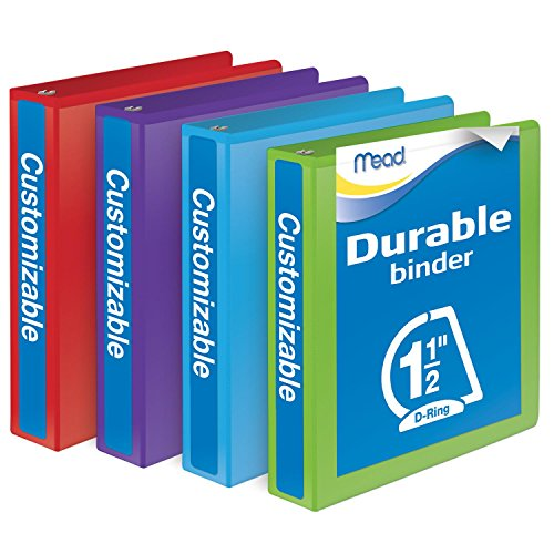 Mead 3 Ring Binder, Durable, Customizable, 1.5 Inch D Ring, 4 Pack, Assorted Colors