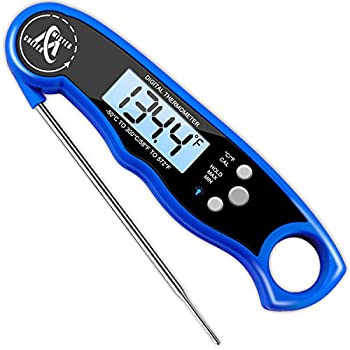 Waterproof Instant Read Thermometer - Best Digital Meat Thermometer - Electric Food Thermometer with Calibration and Backlight functions for Candy Turkey Milk Tea BBQ Grill Steak