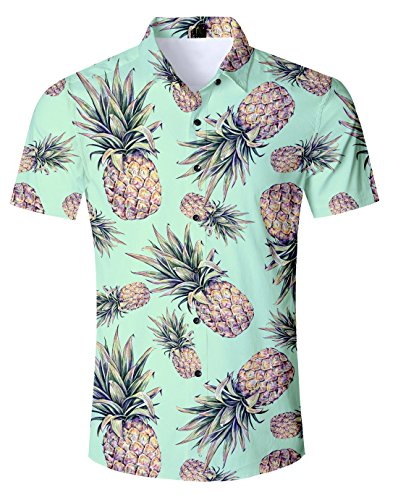 (UNIFACO Pineapple Shirts for Men Funny Hawaiian Shirt 90s Awesome Pineapple Wear Glasses Pattern Funny Short Sleeve Shirt Beach Holiday Casual Aloha Floral Summer Holiday Fancy Dress Hawaii)