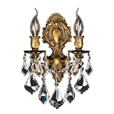 Worldwide Lighting W23313B12 Versailles 2 Light Candle Wall Sconce, Antique Bronze Finish and Clear Crystal, Medium Fixture, 12'' W x 13'' H